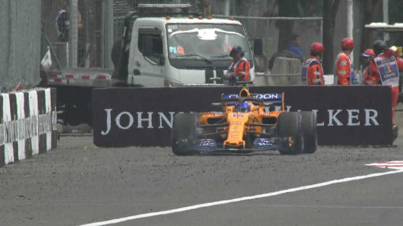 Fernando Alonso leaves in the GP of Mexico 2018