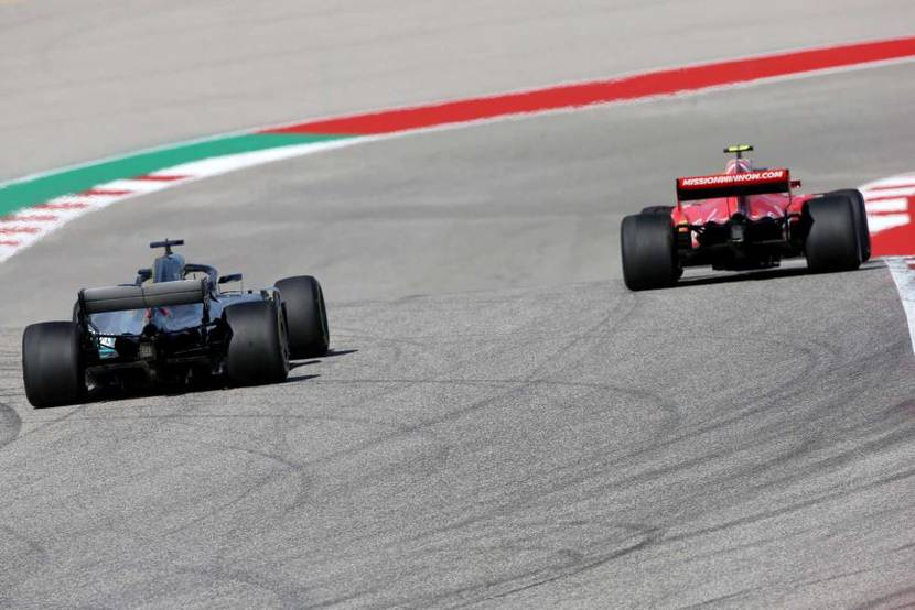 Ferrari in front of Mercedes